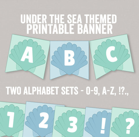 Printable Under the Sea Bunting, Full Alphabet and Numbers