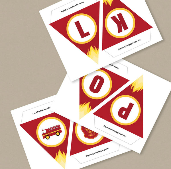 Firefighter Bunting Printable, DIY Alphabet and Numbers for any occasion