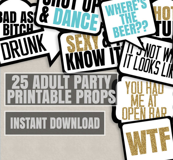 25 Adult Phrases Printable Photo Booth Props