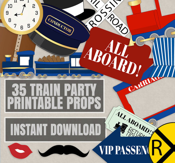 35 x Train Party Printable Props