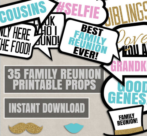 35 x Family Printable Party Photo Booth Props