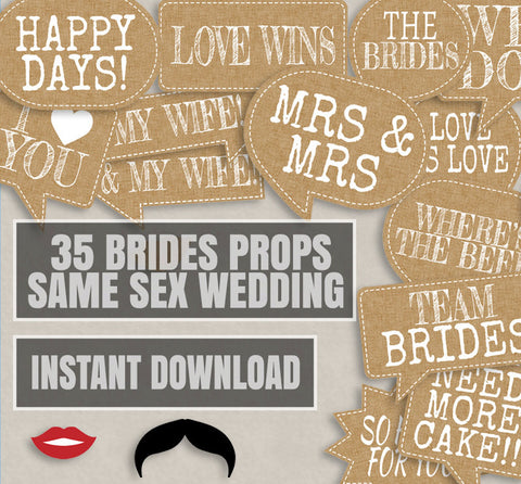 35 Same Sex Brides Wedding Photo props, printable photobooth props, Burlap vintage, boho wedding, lesbian wedding props, wedding printables