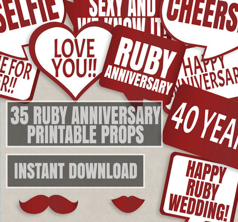35 x Red 40th / Ruby Anniversary Props