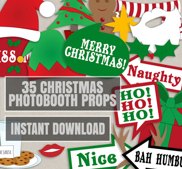 35 x Christmas Party Photo Booth Props