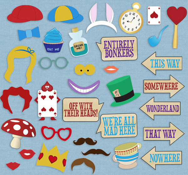 35 x Alice in Wonderland Photobooth Printable Props