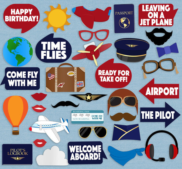 35 x Pilot Party Printable Airplane Props
