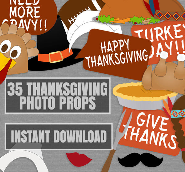 35 x Thanksgiving Printable Photo Props