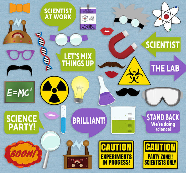35 x Printable Science Party Photo Booth Props