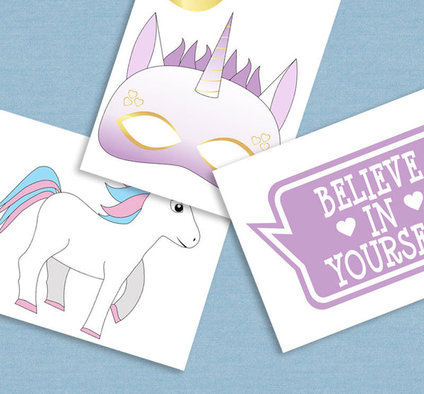 35 x Printable Unicorn Party Photo Booth Props