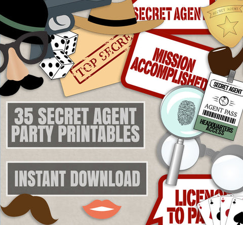 35 x Printable Secret Agent Party Photo Booth Props
