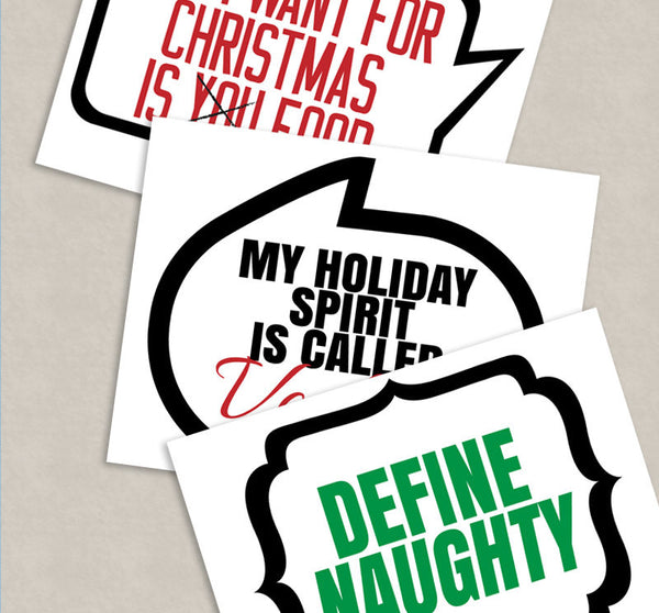 25 Adult Christmas Phrases Printable Photobooth Props