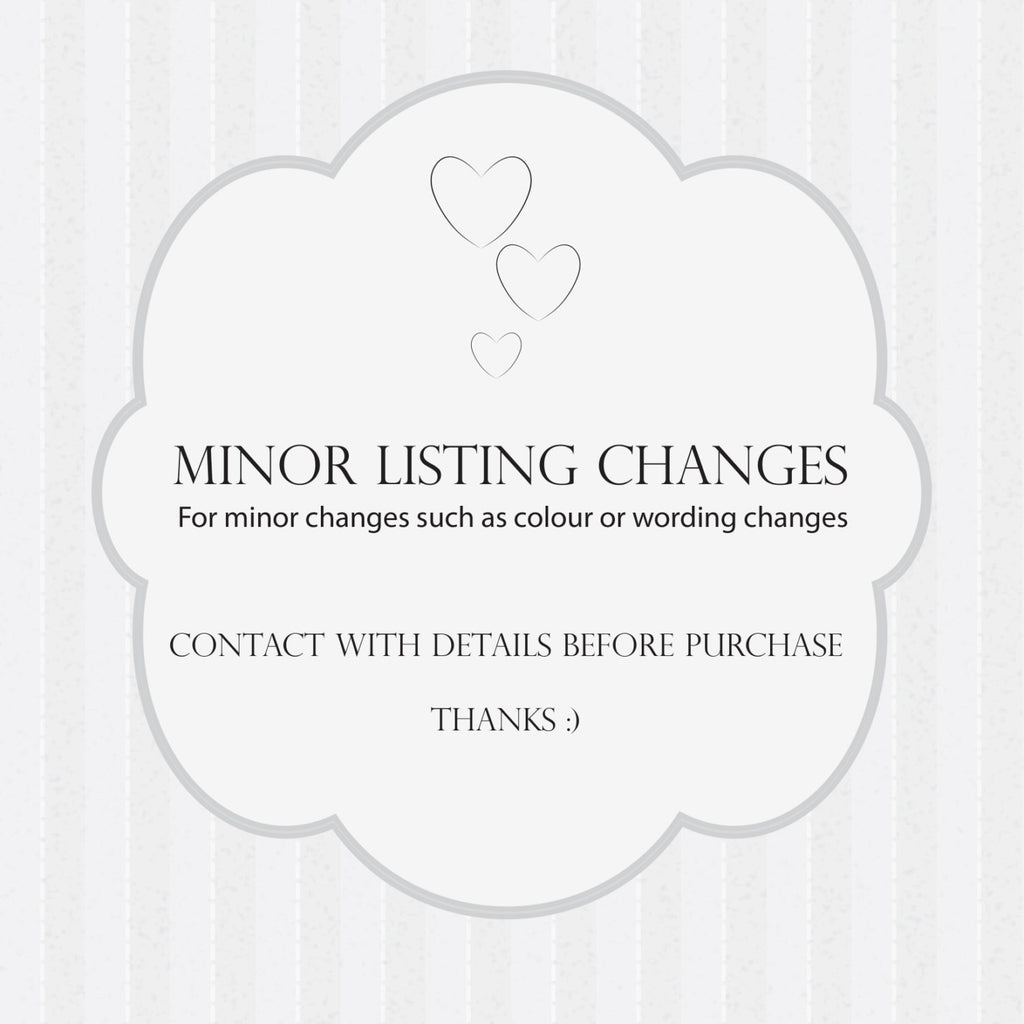 Wedding Printable Minor Details Changes