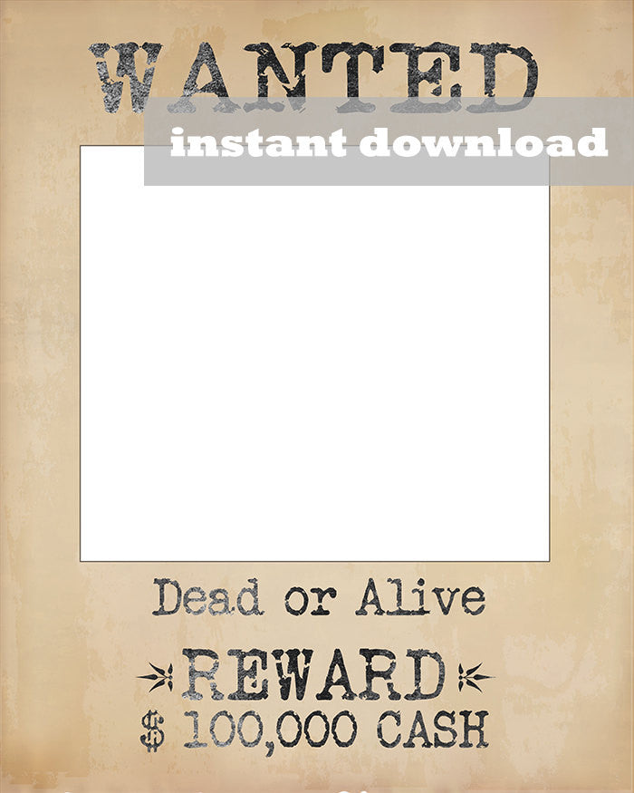 Printable Wanted Wild West Style Poster Frame – Pixels and Pine ...