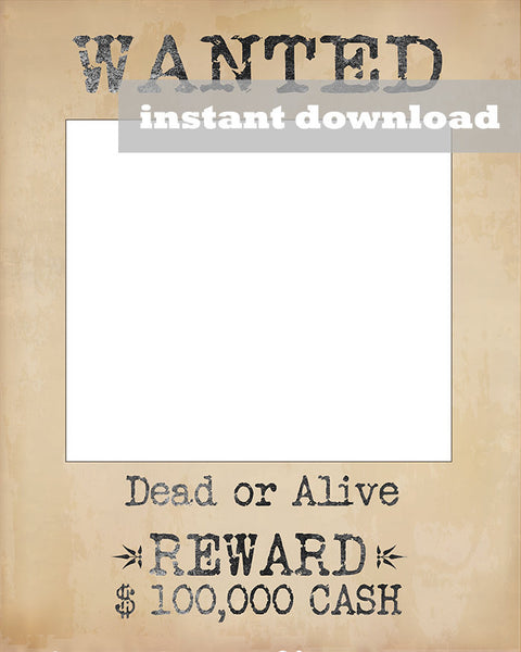 Printable Wanted Wild West Style Poster Frame