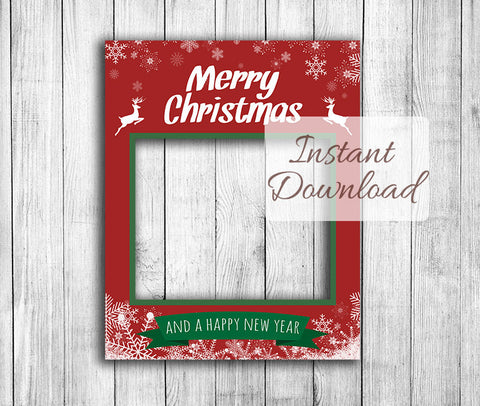 Red Printable Christmas Photobooth Frame