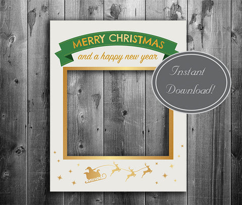 Gold Glitter and Cream Christmas Photobooth Frame