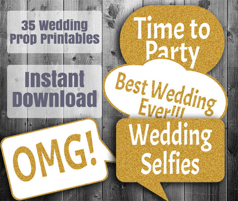 35 x Gold Wedding Photo Booth Printable Photo Props