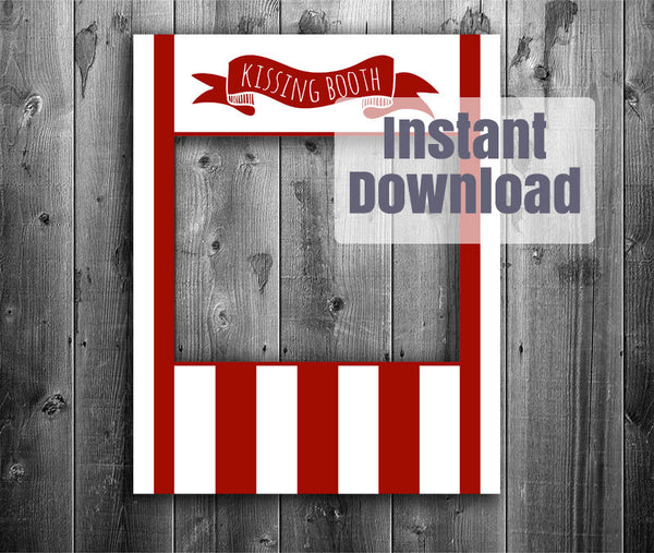 Vintage Kissing Booth Printable Poster Frame