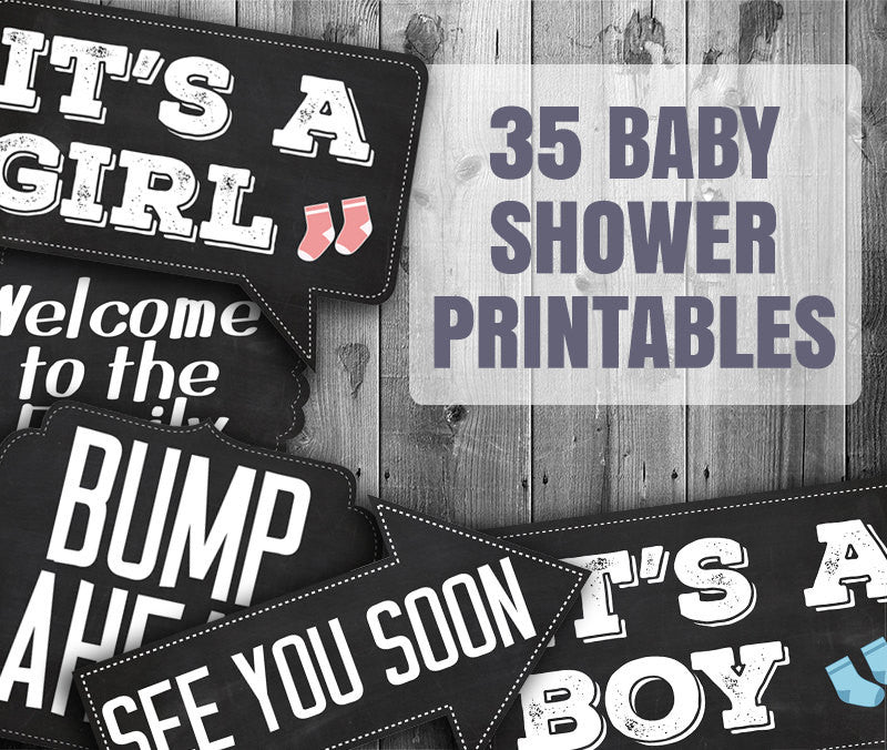 35 x Baby Shower Chalkboard Photo Booth Props