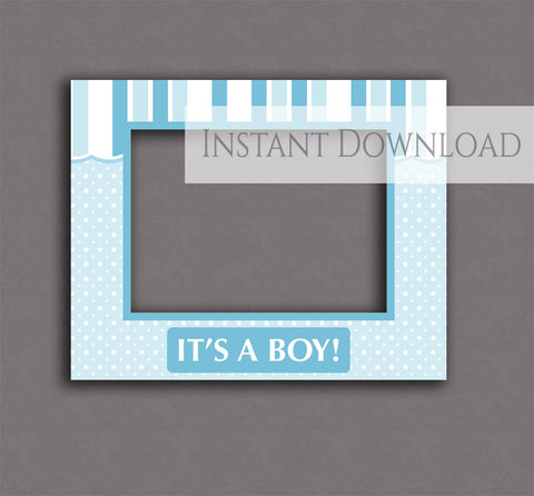 Printable Baby Shower Blue 'Shop Front' Photobooth Frame