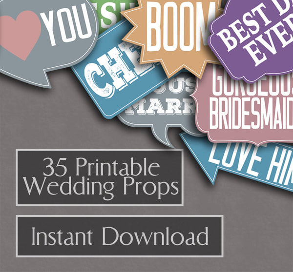 35 x Colorful Wedding Photo Booth Prop Printables
