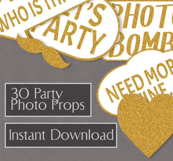 30 x Glitter Gold Party Printable Photo Booth Props