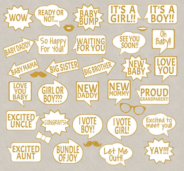 35 x Gold Glitter Effect Baby Shower Printable Photo Booth Props