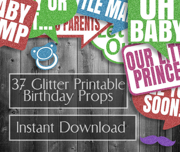 37 x Colorful Glitter Effect Baby Shower Photo Booth Props