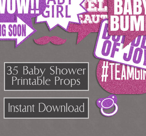 35 x Baby Girl Pink Glitter Printable Props