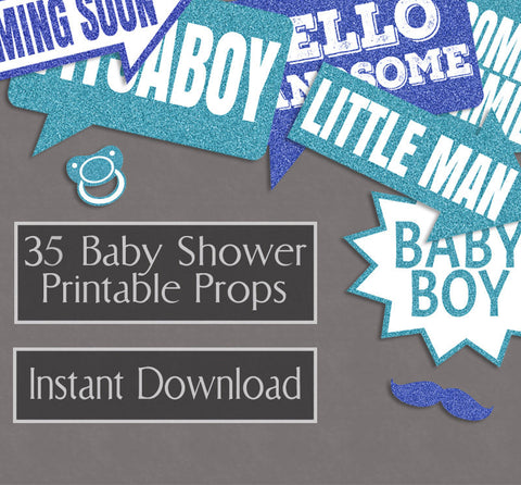 35 x Baby Boy Blue Glitter Effect Printable Props