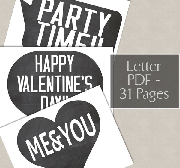 35 x Valentine's Day Chalkboard Props Photo Printables