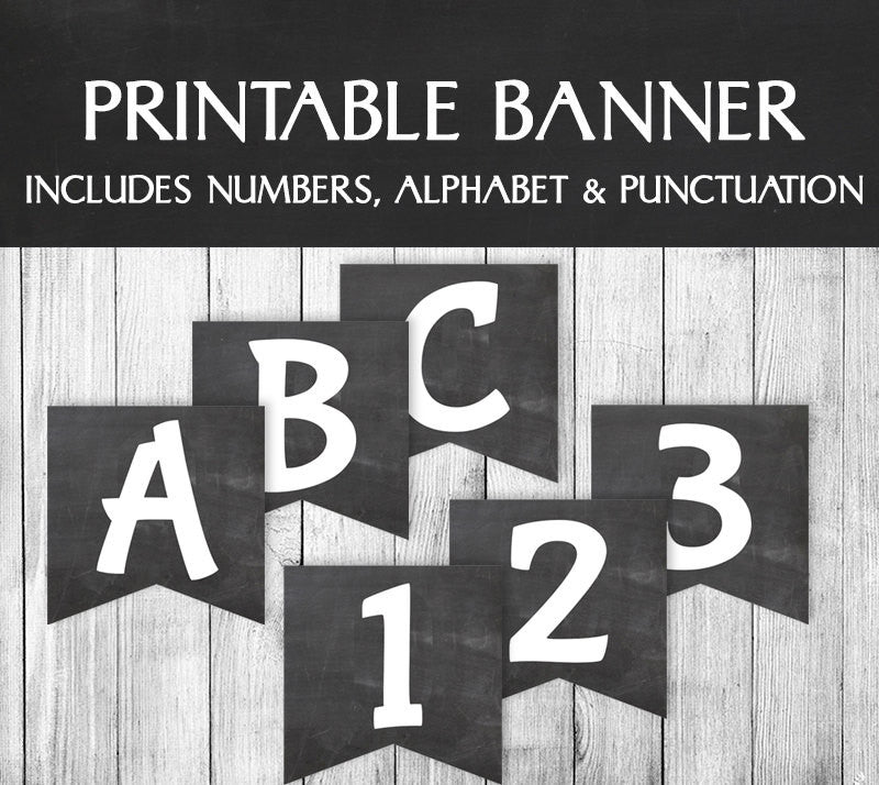 DIY Printable Chalkboard Banner - Full Alphabet/Numbers