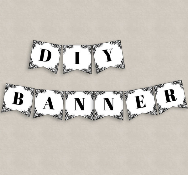 DIY Lace Banner Printable - Full Alphabet/Numbers