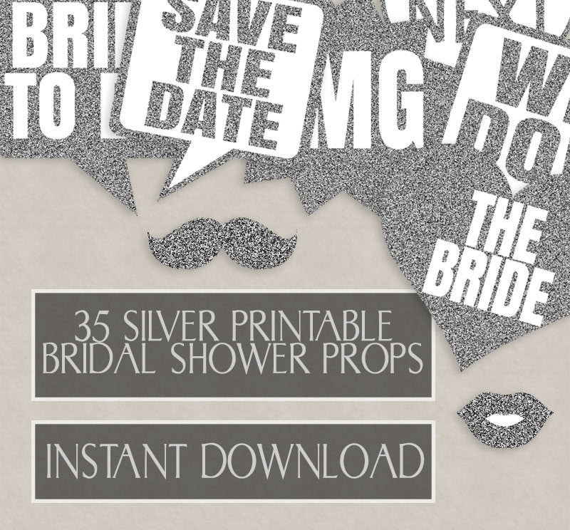 35 x Silver Glitter Bridal Shower Prop Printables
