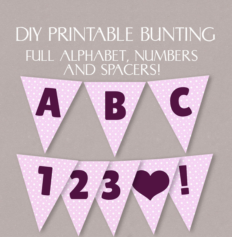 DIY Alphabet Pink Polka Dot Bunting - Full Alphabet/Numbers