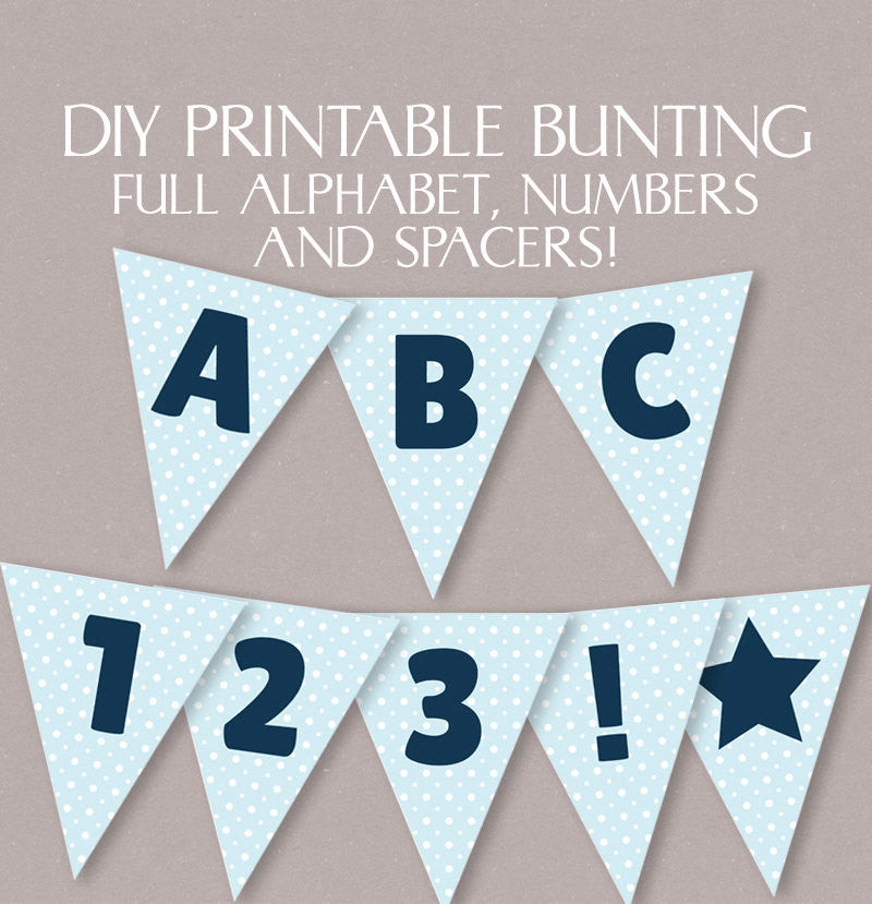 DIY Alphabet Bunting Blue Polka Dot - Full Alphabet/Numbers