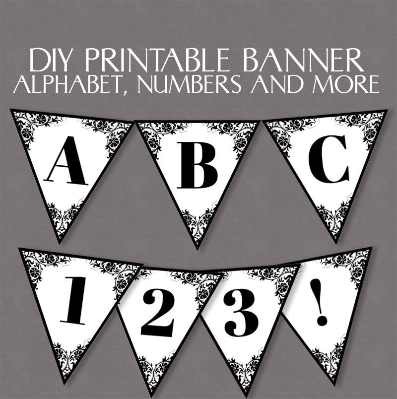 Printable Lace Bunting - Full Alphabet and Number