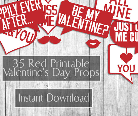 35 x Red Valentine's Day Printables Props