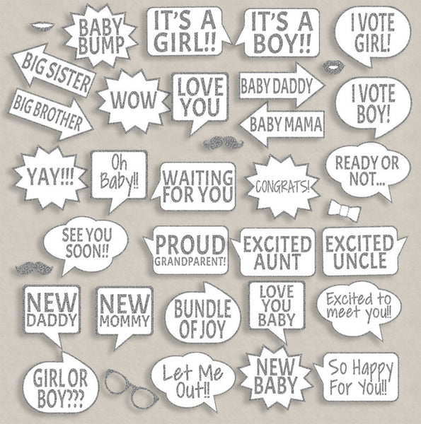 35 x Baby Shower Silver Glitter Printable Photo Booth Props