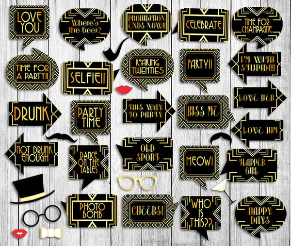 35 x 1920s Gatsby Photo Booth Prop Printables