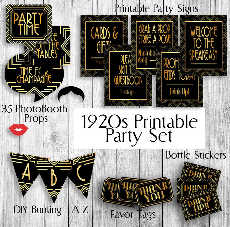 Printable Gatsby Themed 1920s Party Set Props Tags X 2