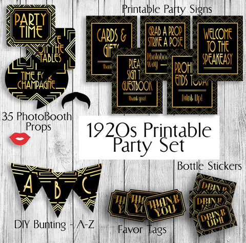 Printable Gatsby Themed 1920s Party Set - Props, Tags x 2, Bottle Stickers, Bunting and Signs x 5