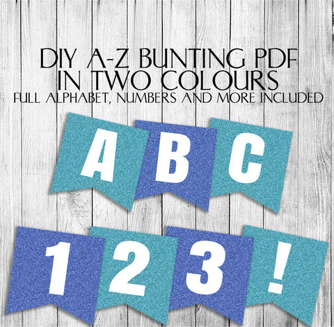 Blue Glitter Effect Banner - DIY Bunting with Full Alphabet/Numbers