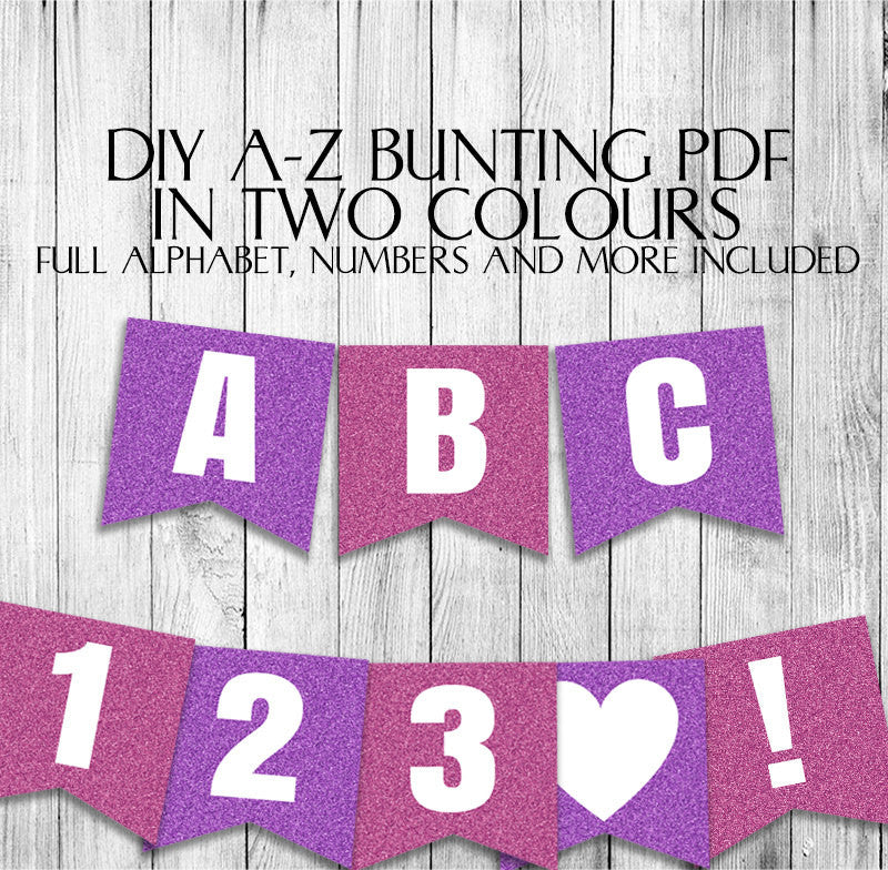 Pink Glitter Effect Banner - DIY Bunting with full alphabet/numbers