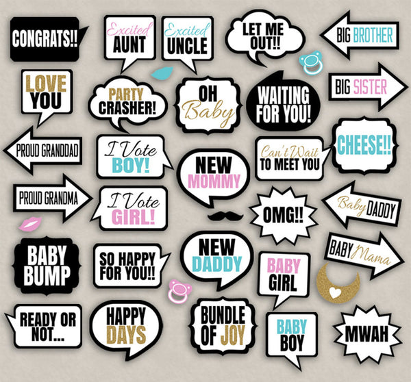 35 x Baby Shower Printable Props for any gender
