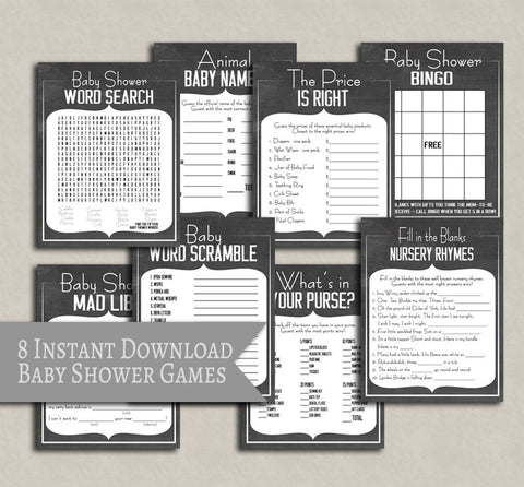 Baby Shower Set of 8 Chalkboard Games