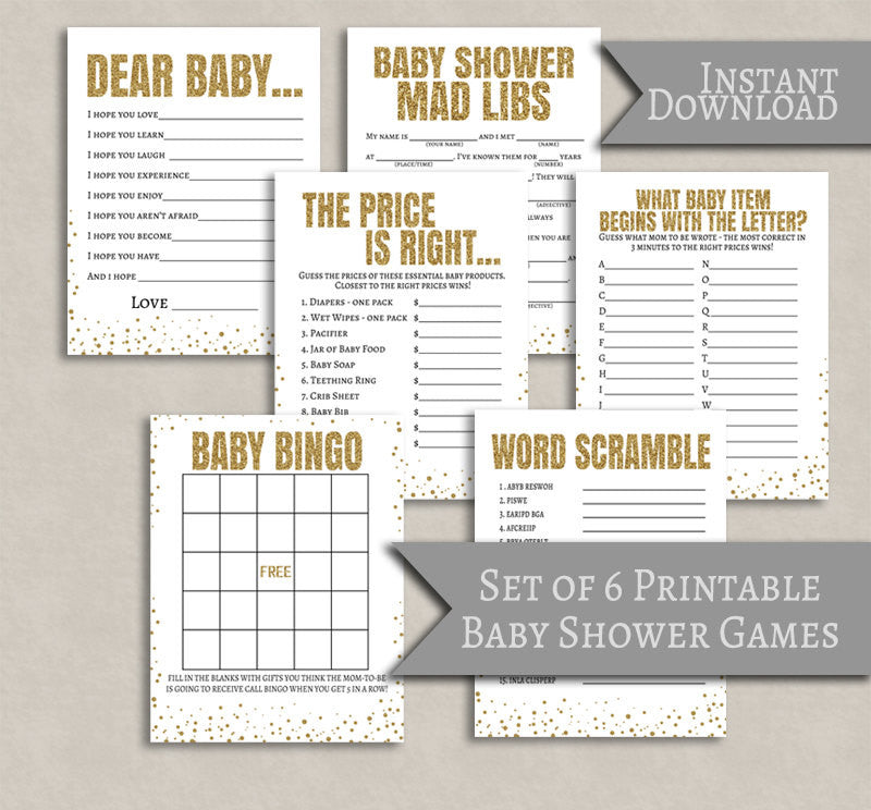 Gold Glitter Effect Baby Shower Printable Games - Set of 6