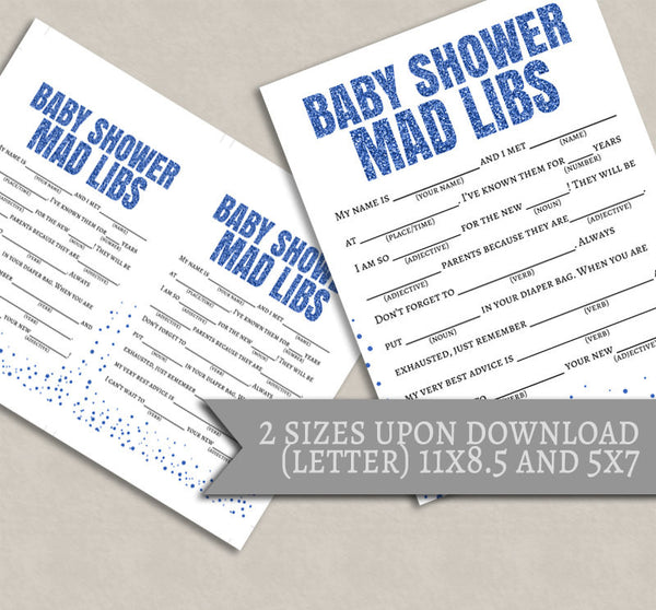 It's a Boy - Blue Glitter Baby Shower Printable Games - Set of 6
