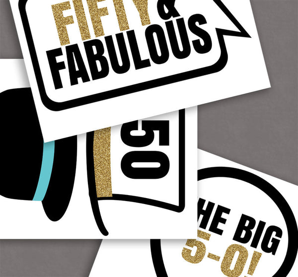 35 x 50th Birthday Photo Booth Prop Printables