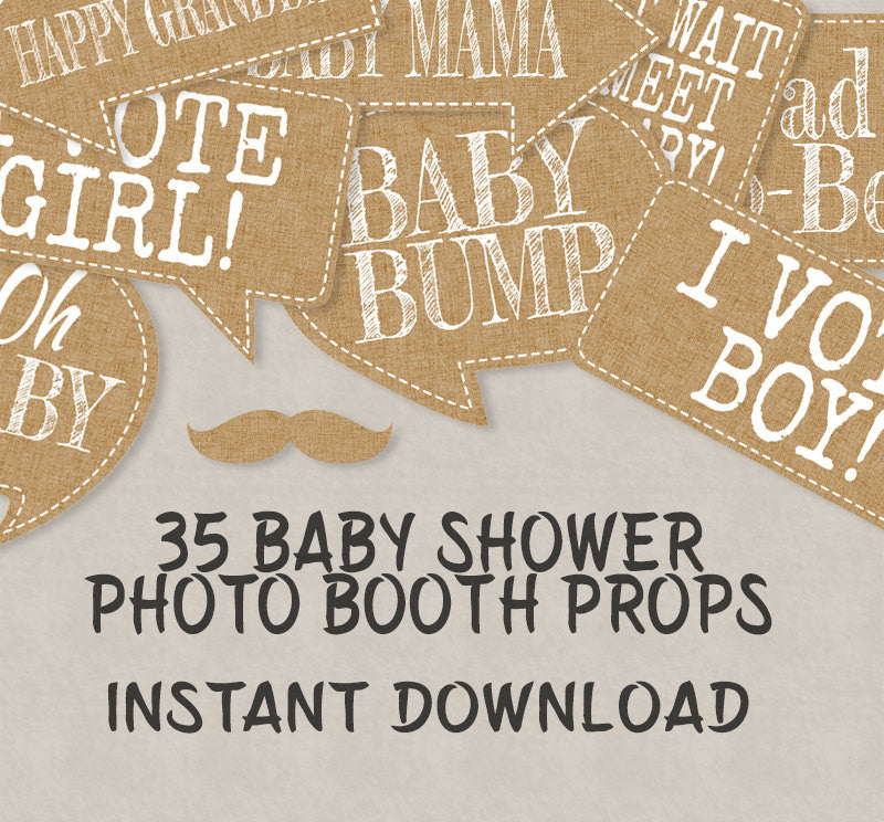 35 x Rustic Baby Shower Printable Props